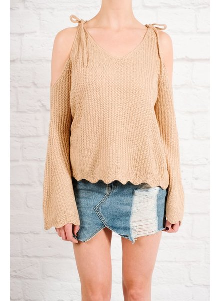 Sweater Tie cold shoulder scallop knit