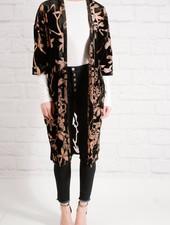 Cardigan Velvet kimono with sheer pattern