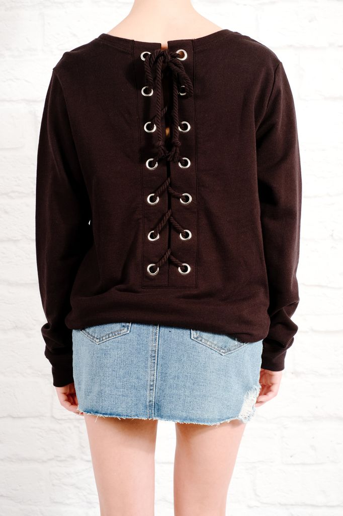 Sweatshirt Rope laced back sweatshirt