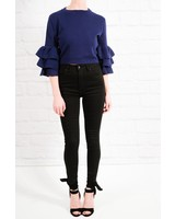 Sweater Knit cobalt tiered crop