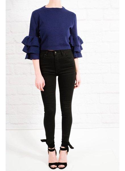 Sweater Knit cobalt tiered crop
