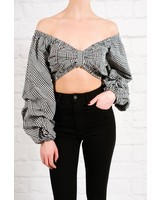 Crop Plaid puff sleeve beauty