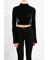 Crop Velvet bell sleeve crop