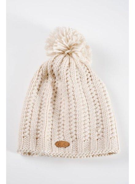 Hat Ivory knit pom hat