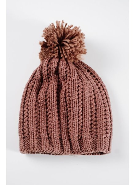 Hat Mocha knit pom hat