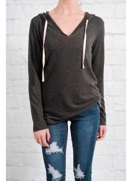 Sweatshirt Charcoal raw edge hoodie