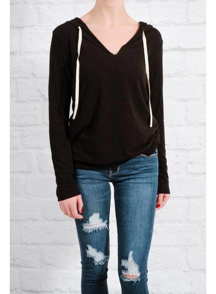 Sweatshirt Black raw edge hoodie