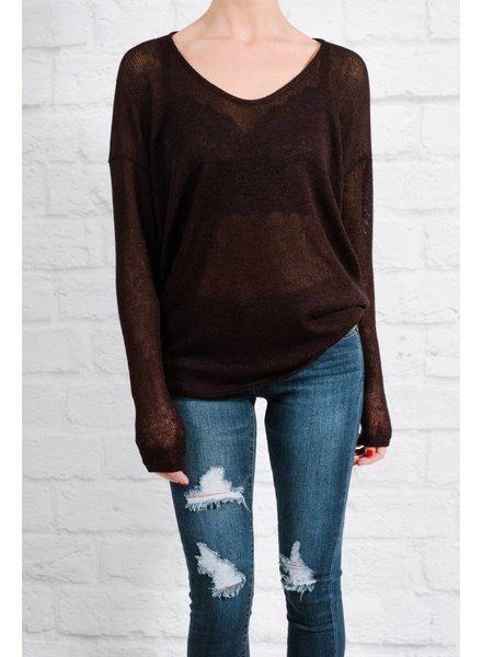 Sweater Dolman sleeve black knit