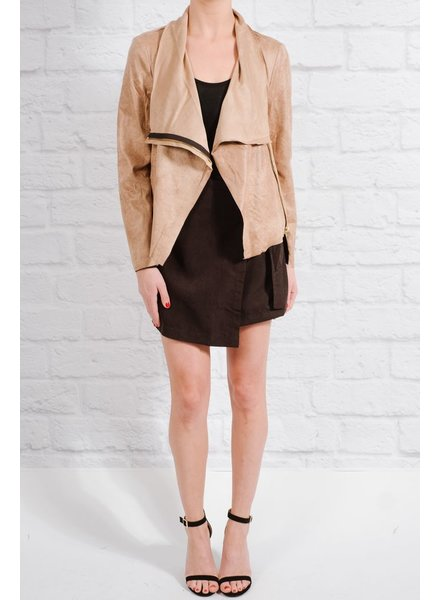 Lightweight Tan side zip suede jacket