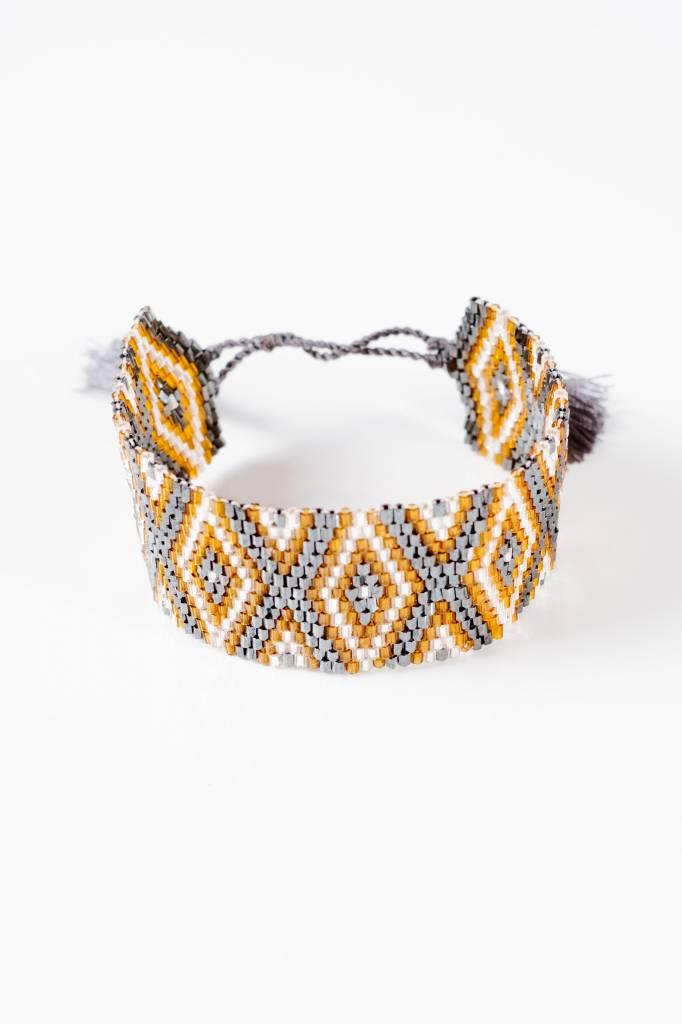 Stone Aztec beaded bracelet
