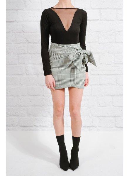 Skirt Plaid tie wrap skirt