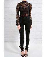 Bodysuit Black floral lace bodysuit