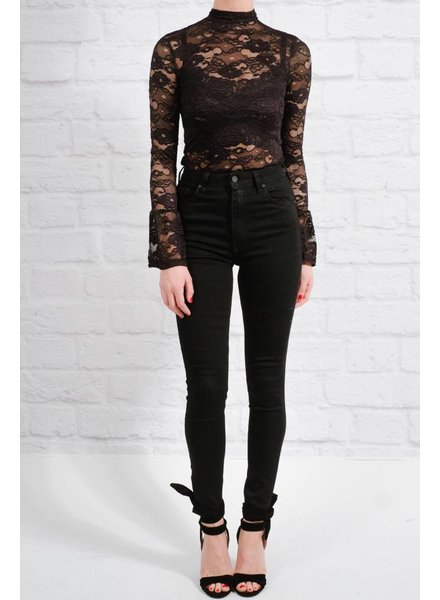 Bodysuit Black floral lace bodysuit