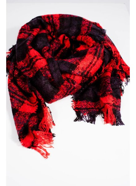 Scarf Black and red plaid blanket scarf