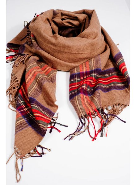 Scarf Plaid trimmed brown blanket scarf