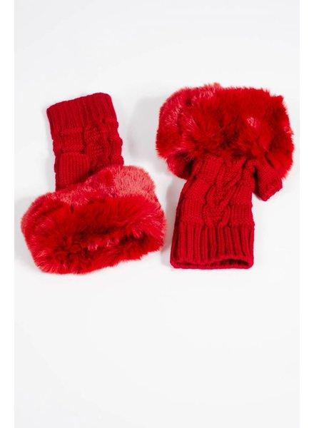 Gloves Red fur knit fingerless gloves