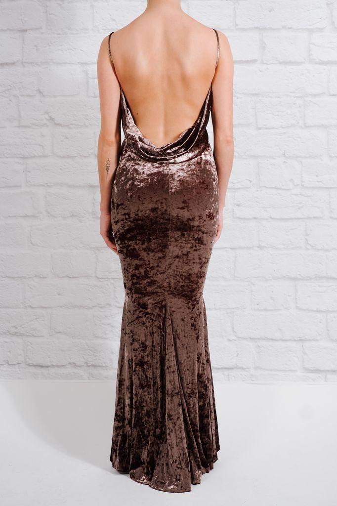 Maxi Ash velvet cowl back dress