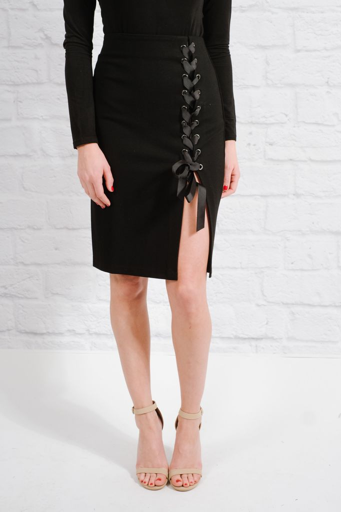 Skirt Ribbon laced pencil skirt