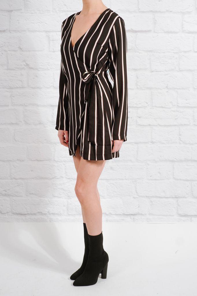 Casual Striped wrap dress