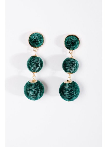 Trend Green graduated sphere drop earrings