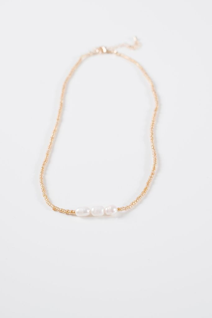 Short Gold bead & pearl necklace
