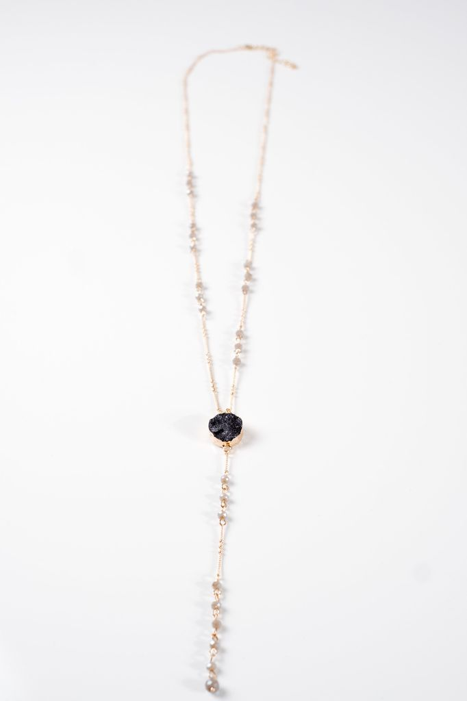 Long Beaded Y druzy necklace