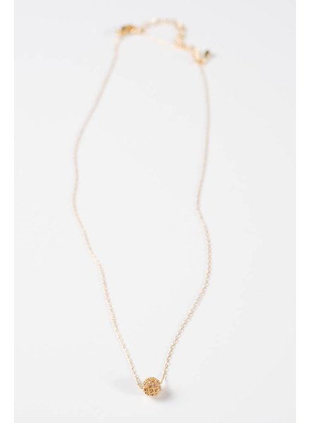 Short Dainty gold pave ball necklace