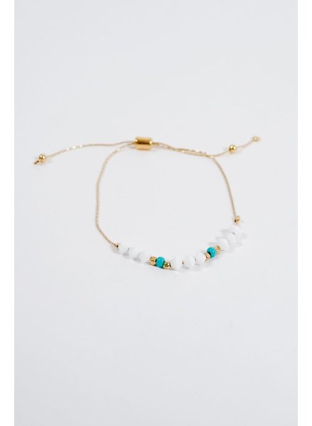 Stone White & teal bead adjustable bracelet
