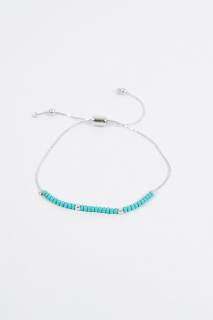 Stone Teal bead adjustable silver bracelet