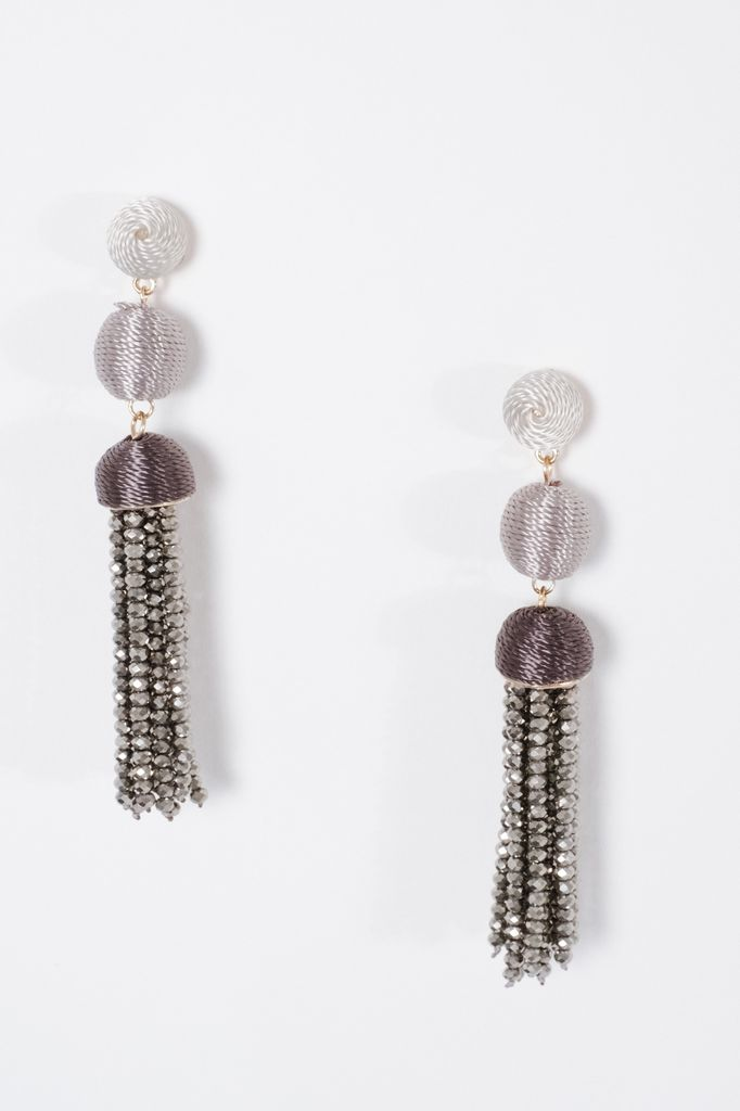 Trend Grey tone dressy tassel earrings