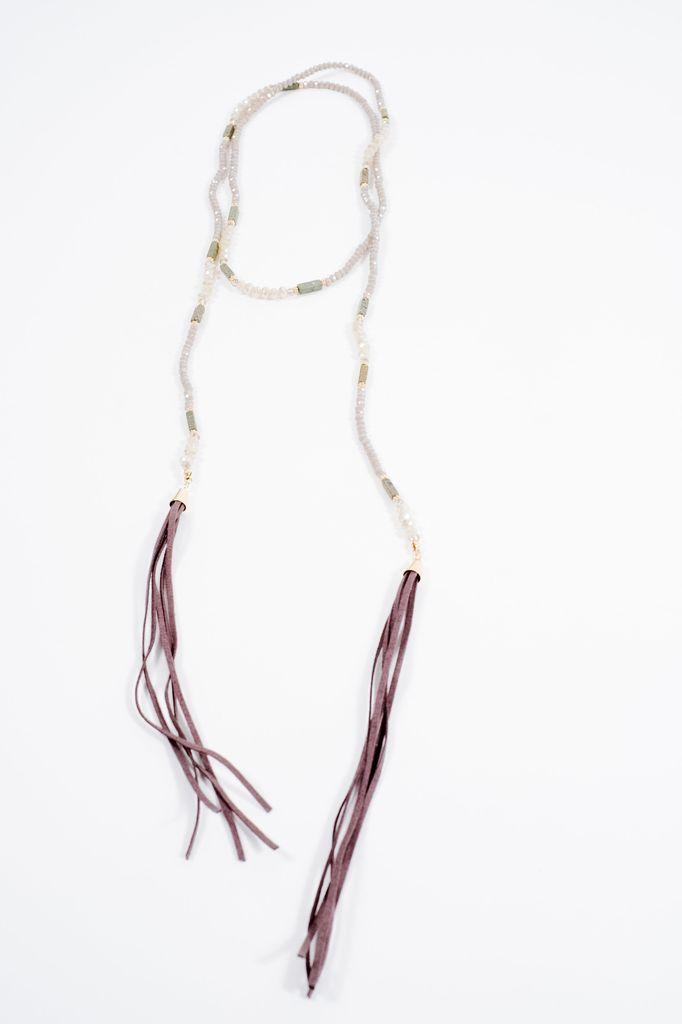 Stone Grey beaded multi way wrap necklace