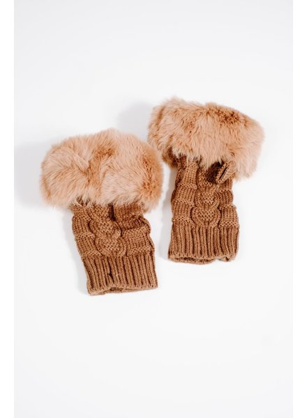 Gloves Tan fur knit fingerless gloves