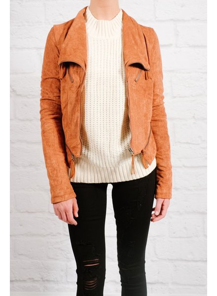 Leather Brick suede moto jacket
