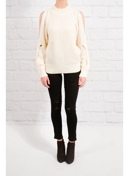 Sweater Cream cold shoulder knit