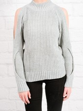 Sweater Heather grey cold shoulder knit