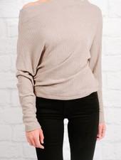 Blouse Mocha waffle knit ots top