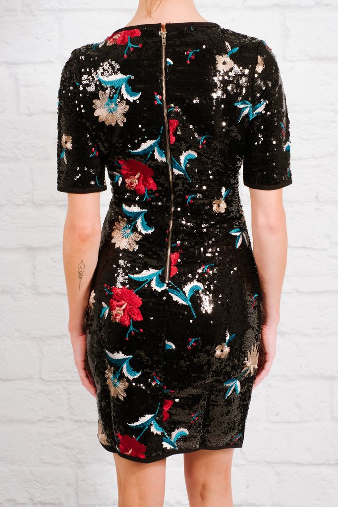 Dressy Sequin & floral embroidered dress