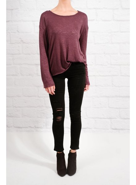 T-shirt Eggplant raw edge top