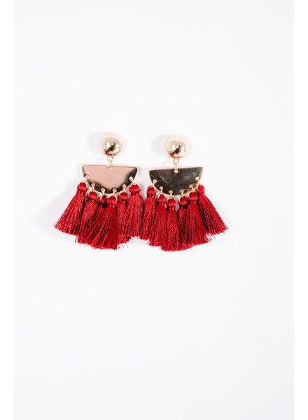 Trend Red tassel button post earrings