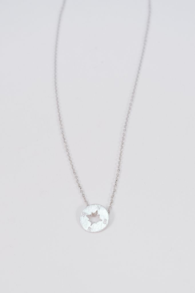 Gold Silver tone compass necklace
