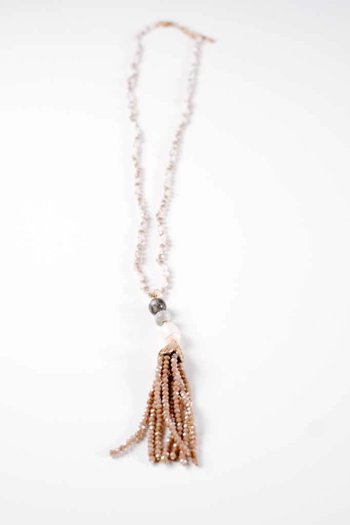 Long Neutral beaded tassel necklace