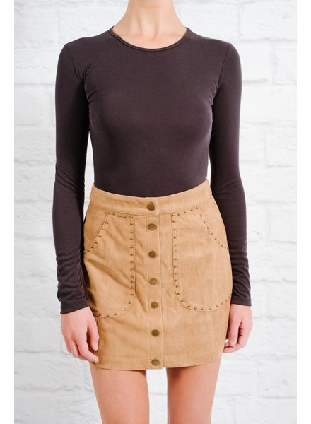 Skirt Tan studded snap mini skirt
