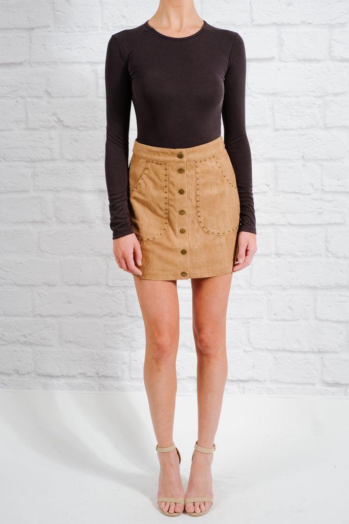 Skirt Tan studded snap mini skirt