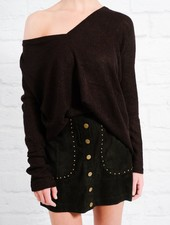 Sweater Black v-neck mohair knit