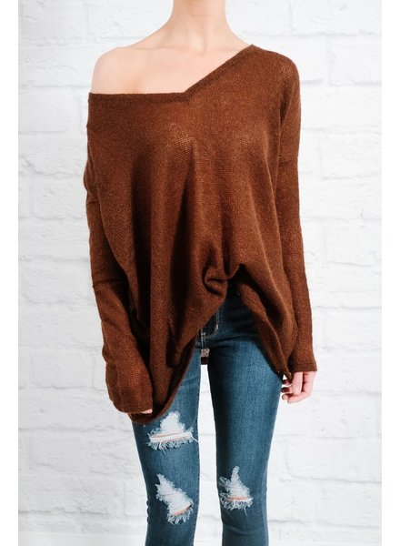 Sweater Brown v-neck mohair knit