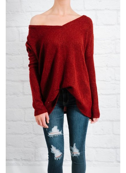 Sweater Wine v-neck mohair knit