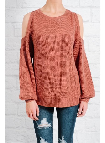 Sweater Rose cold shoulder knit sweater