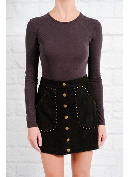 Skirt Black studded snap mini skirt