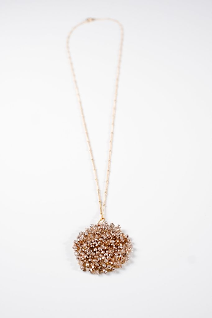 Long Long rose gold beaded disk