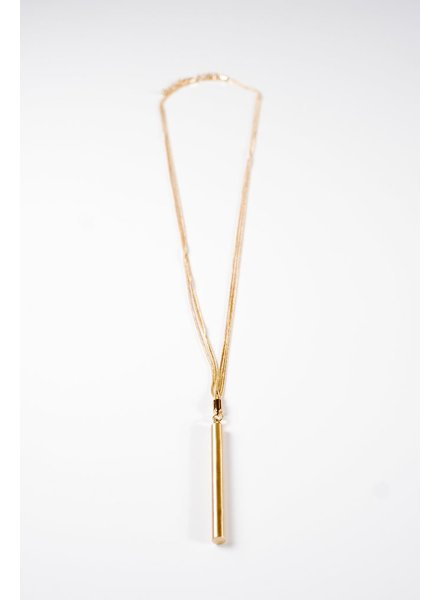 Long Multi chain long bar necklace
